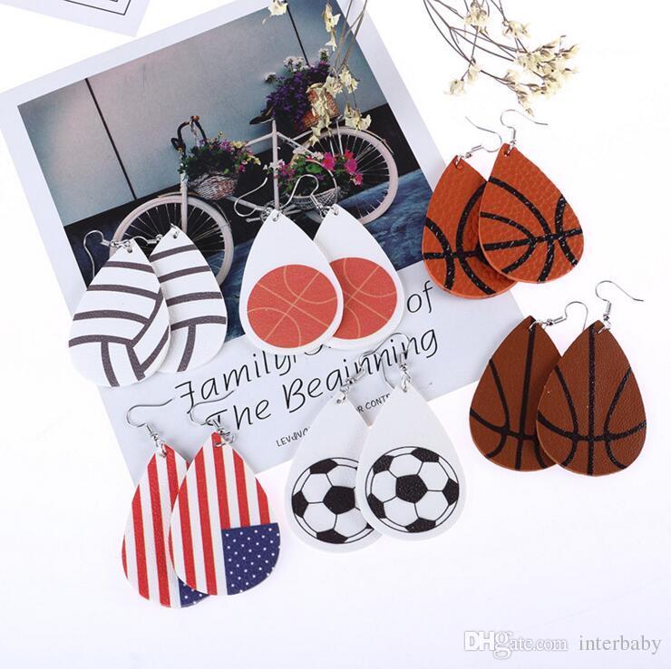 Gota de agua Gota de cuero Béisbol Voleibol Pendiente impreso Estilo deportivo Gota en forma de lágrima Pendiente Moda Joyería de chicas CLS648