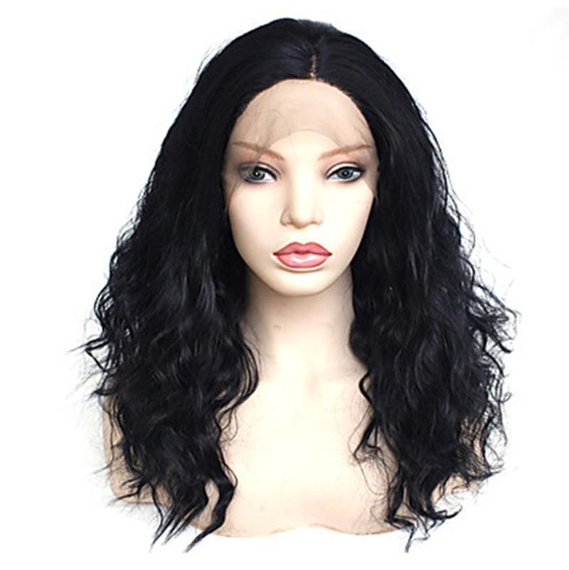 무료 배송 180 % 밀도 곱슬 곱슬 한 물결 모양의 합성 레이스 프런트 가발 고품질 블랙 컬러 가발 16 인치 Glueless 180 % 밀도 가발 여성용