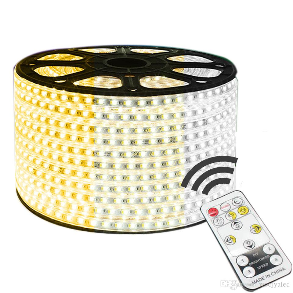 원격 제어 조 광 기 5730 LED 스트립 빛 3 - 색상 변경 120LEDs / M LED 네온 로프 빛 220V IP67 방수 EU LED 테이프