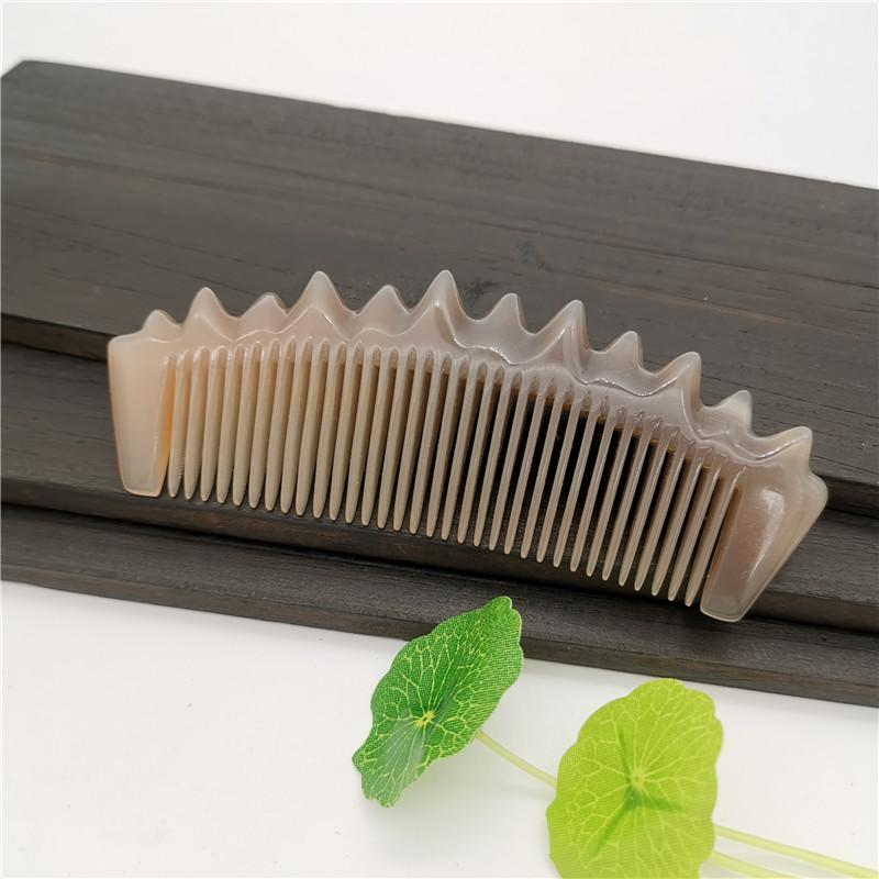 Бесплатная доставка Natural White Buffalo Horn Comb Original-Eco массаж Гребень Антистатический Борода Гребень подходит для коротких волос