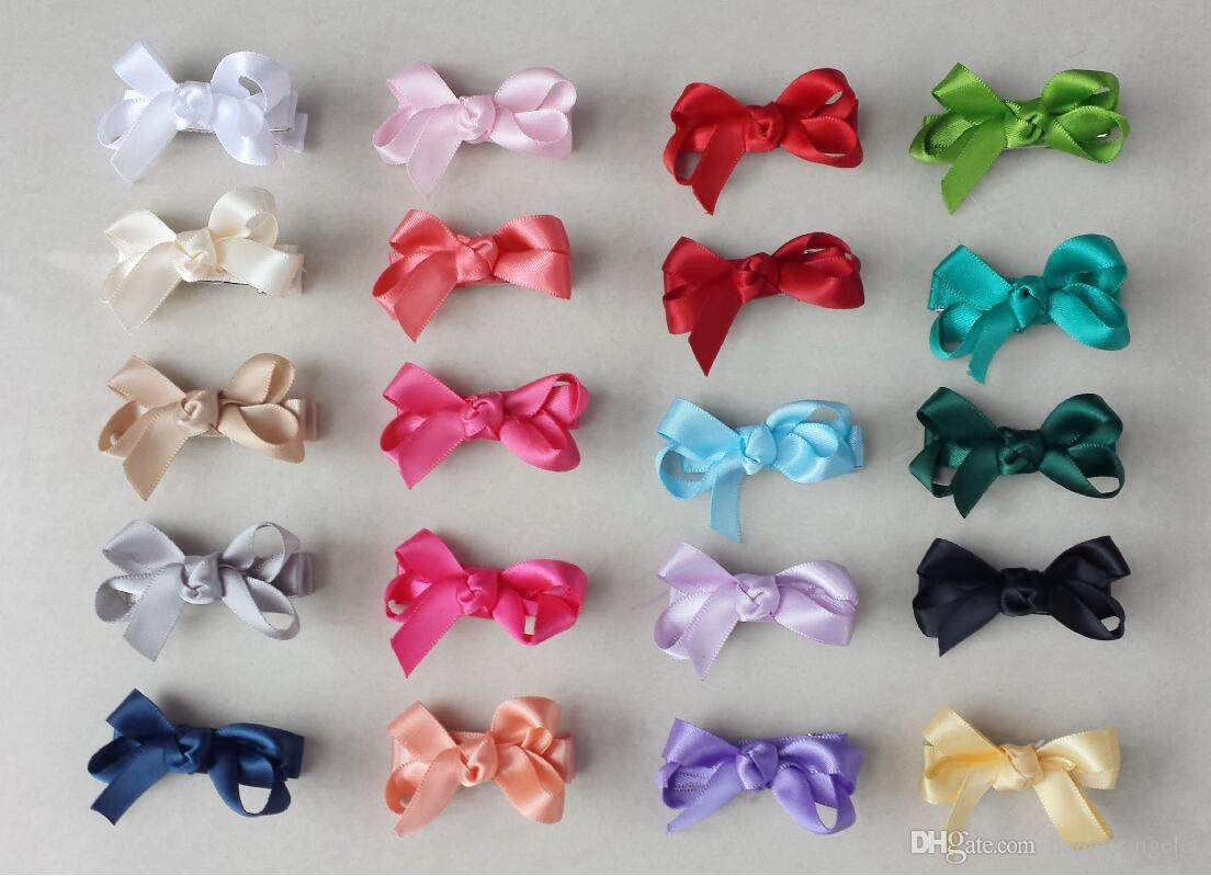 mini hair accessories satin ribbon bow clips covered lined Double Prong Duckbill Alligator Hairpin Boutique Baby Girl headwear FJ3238