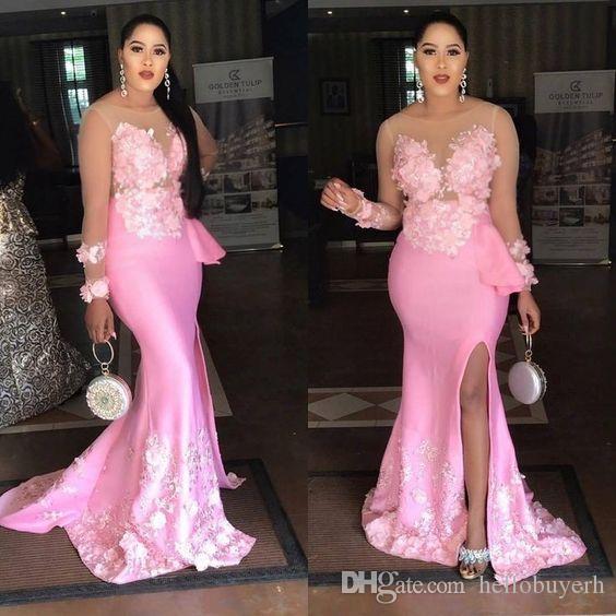 2019 New Mermaid Pink Sheer Long Sleeve Muslim Elegant Evening Dresses Front Split Stretch Satin African Dresses Black Girl Prom Gowns