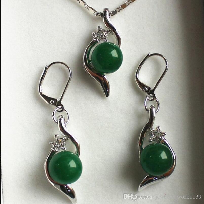 Colar de jóias conjunto 10mm verde pão pingente brinco