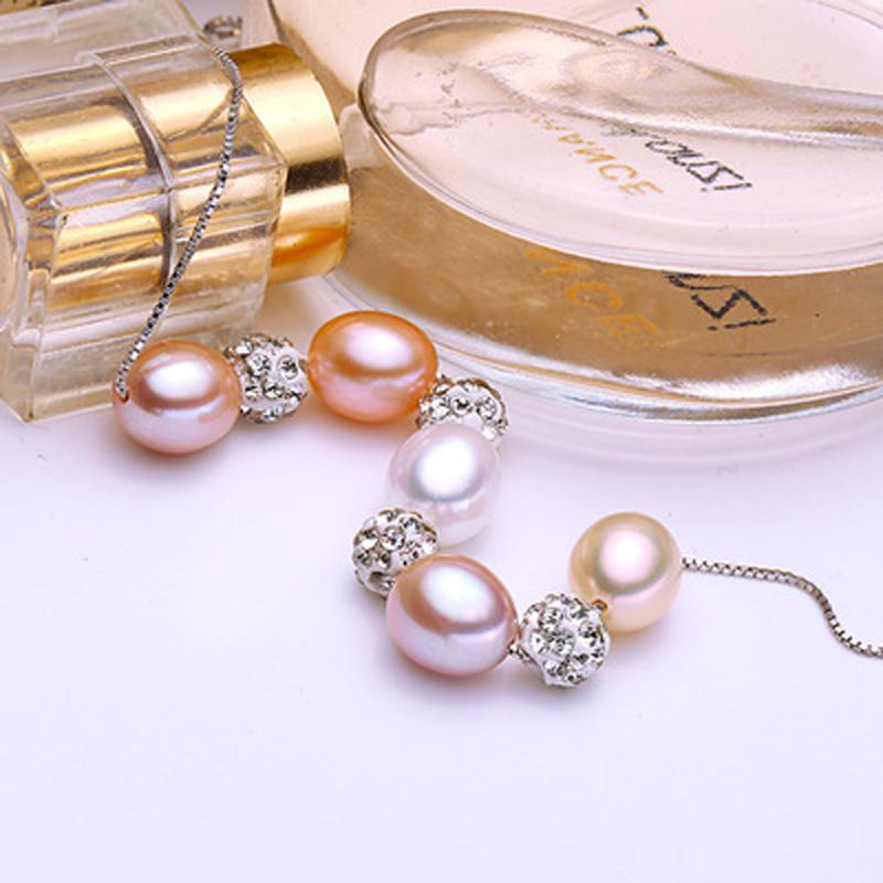 ASHIQI Real 925 Sterling Silver Pendant Necklace Natural Freshwater Pearl for Women Jewelry Gifts