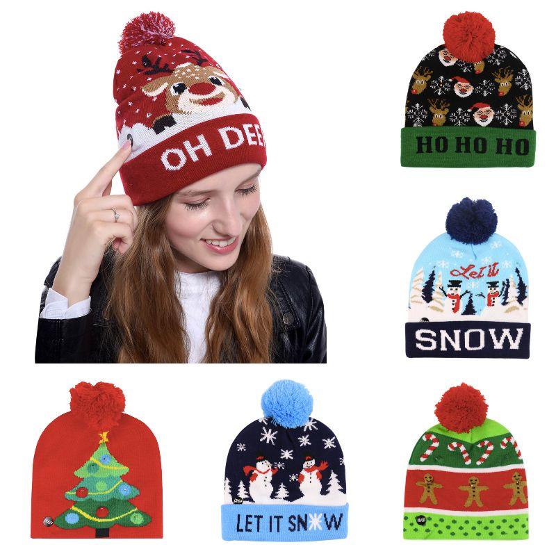 14 تصاميم عيد الميلاد للأطفال محبوك LED أضواء قبعة سانتا كلوز إلك ندفة الثلج في فصل الشتاء قبعة بينيس للبالغين أطفال حفلة عيد الميلاد 09