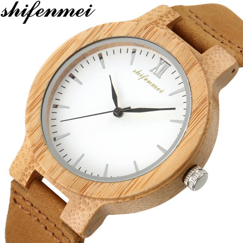 Regalo del reloj de madera Shifenmei reloj de los pares hombres de los relojes del reloj masculino completo de madera de bambú pulsera de cuarzo para hombre Las mujeres de lujo 5512