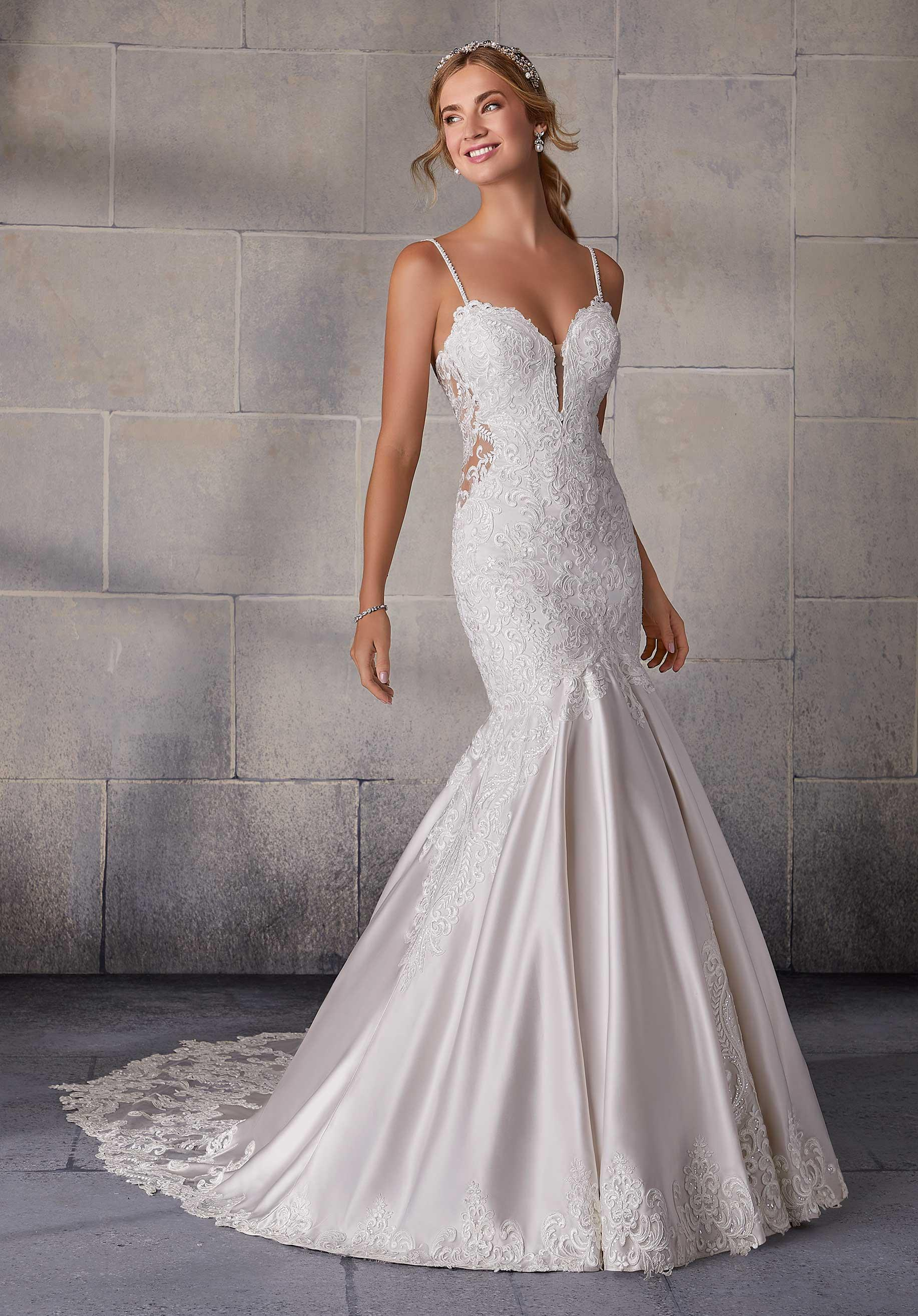 Wedding Gown Features A Form Fitting Satin Mermaid Silhouette Accented With Moonstone And Pearl Beaded Straps Mermaid Gown Plus Size Bridal Gowns From