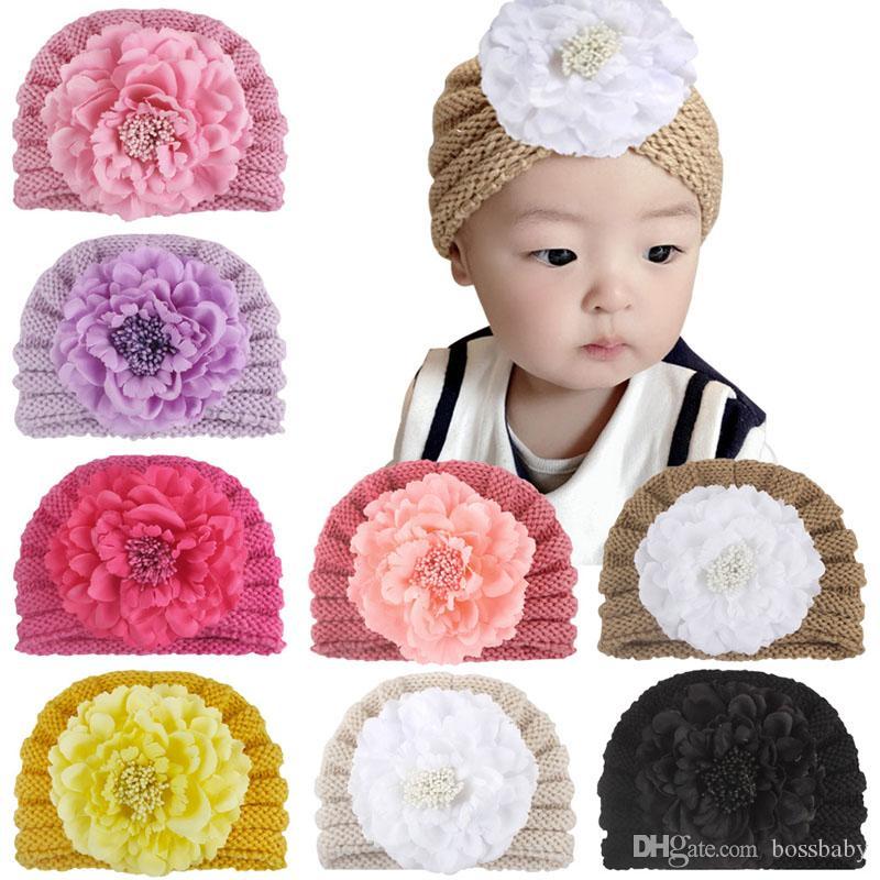 Baby Winter Knit Hats 8 Colors Flower Keep Warm Crochet Hats Newborn Girls Hat Kids Winter Caps 07