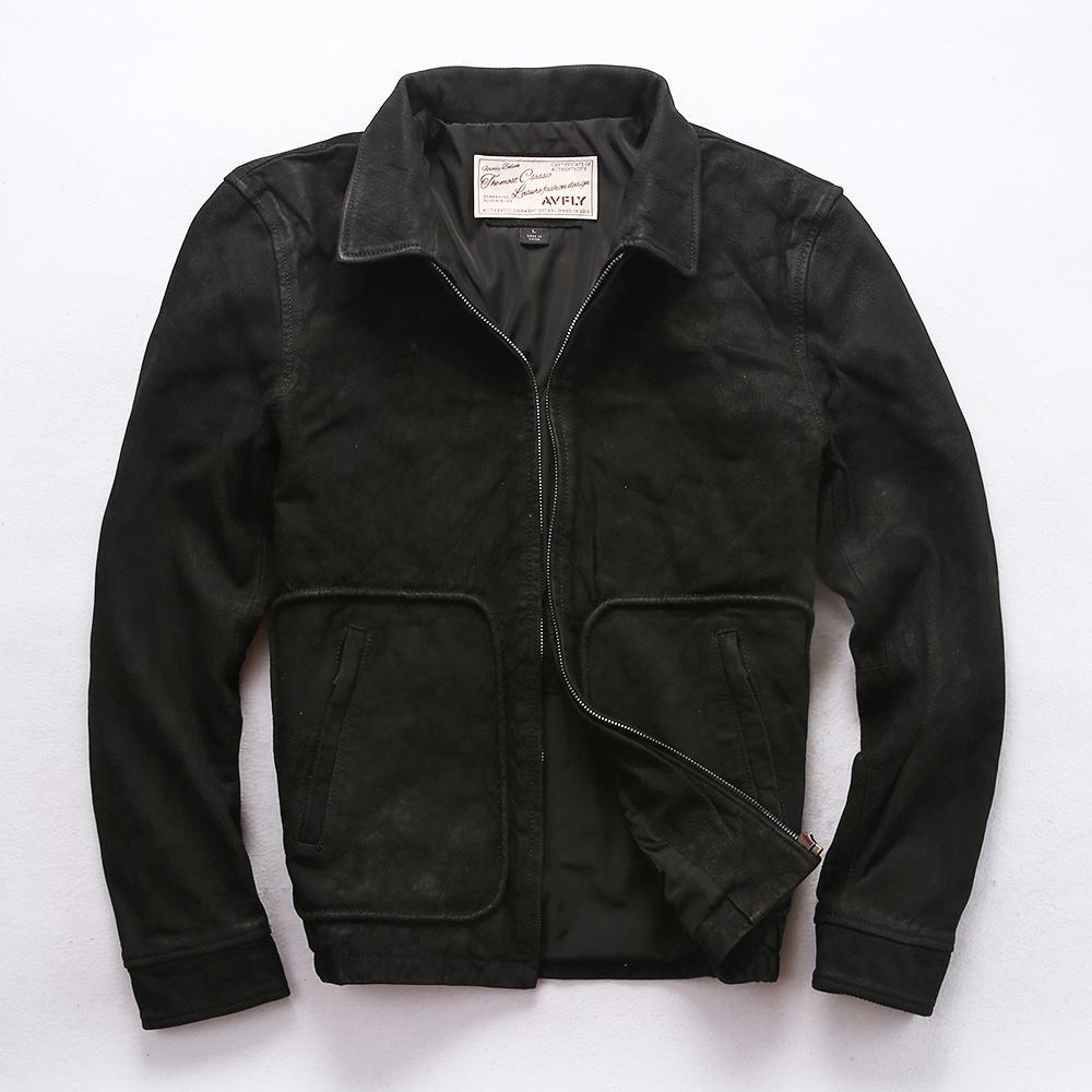 2020 hombres de la chaqueta de piel de oveja Exfoliante cuero real de la vendimia hacer vieja capa ocasional de cuero de los hombres chaqueta de vuelo piel de cabra negro otoño masculina