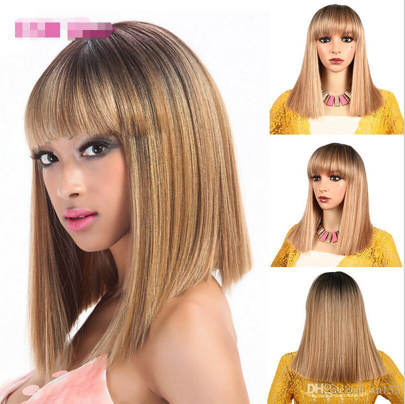 2019 neue Art und Weise kurzwellige Wellenkopf Schulter Haarfarbverlauf europäische und amerikanische Perücke chemische Faser silk Art und Weise realistisch flauschige ea