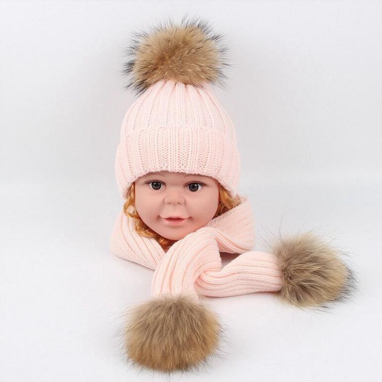brand 2019 Children winter hat scarf Bib Designer simple striped baby boys and girls warm hat kids knitted cap muffle shawl