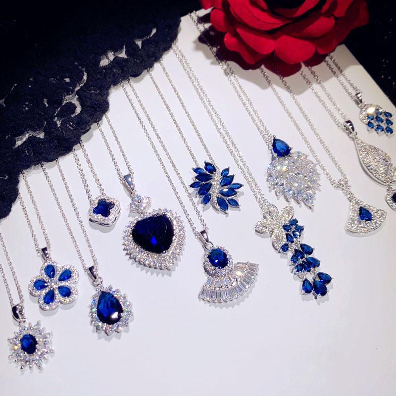 Luxury Vintage pendenti delle collane per le donne argento 925 Blu Zaffiro Cubic Zirconia clavicolare catena Fine Jewelry V191203