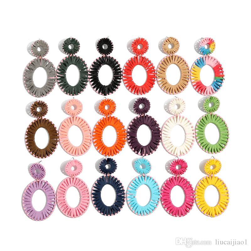 18 couleur européenne et américaine oreille bijoux Fashion boucles d'oreilles boucles d'oreilles Lafite tissés à la main ovale Lafite