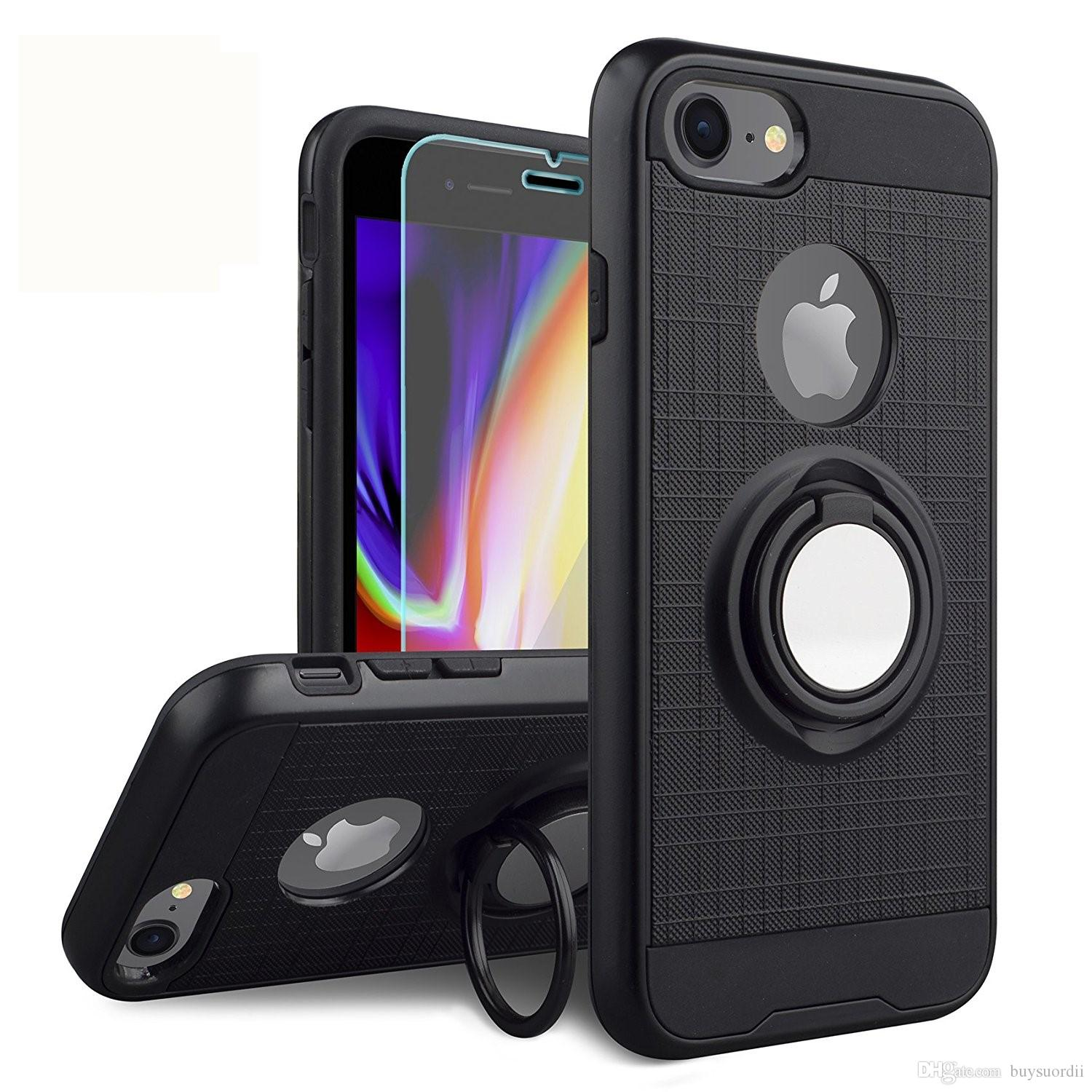 Hybrid Armor Ring Kickstand Case with Magnetic Cover for iphone 6 6s 7 8 plus X XR XS Max Phone Case Defender Cover