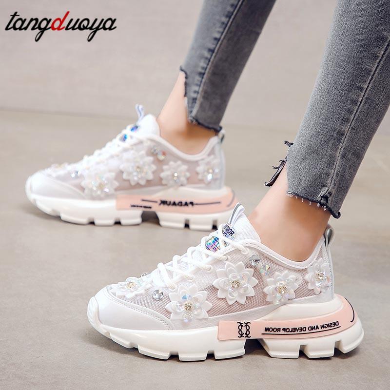 Chaussures femmes chaussures de course blanc plate-forme de sport mince filet en marche décontractée respirant été dentelle strass