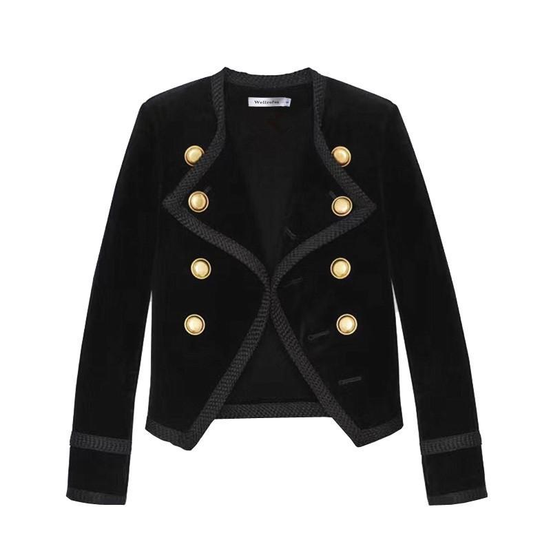 2019 تصميم جديد المدرج المرأة حقق طوق سترة قصيرة معطف الشتاء مزدوجة الصدر البدلة أنثى المخملية الأسود سليم أبلى