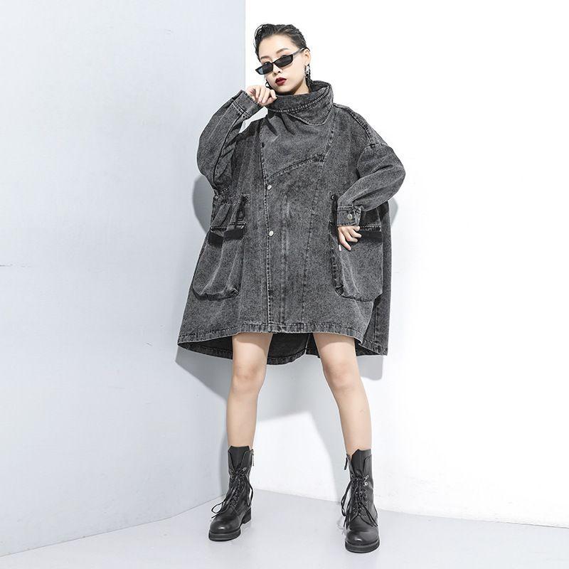 2020 Spring New промывочной воды Снежинка Denim пальто Большой Плюс Размер Женская одежда Сыпучие с карманом