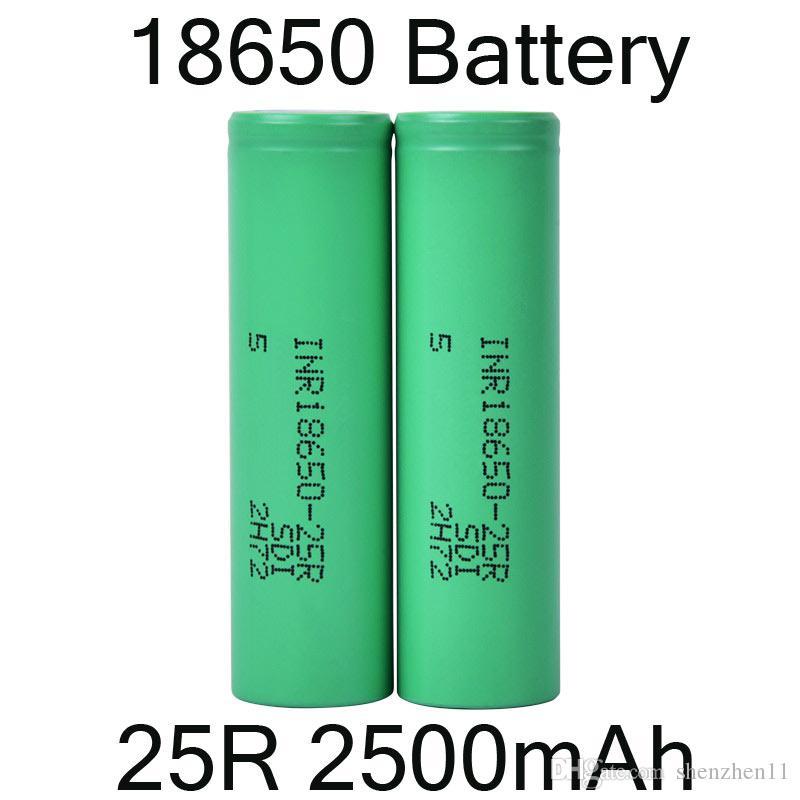 2500mAh INR 25R 18650 Baterias bateria com bateria de lítio Flat Top recarregáveis para Lanterna Farol DHL gratuito FJ752