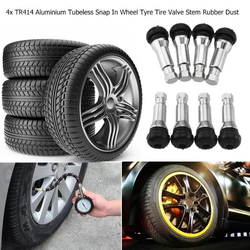 Caps Car Tire 5 x Tyre Wheel Valve TR414 Tubeless Snap-in Valves
