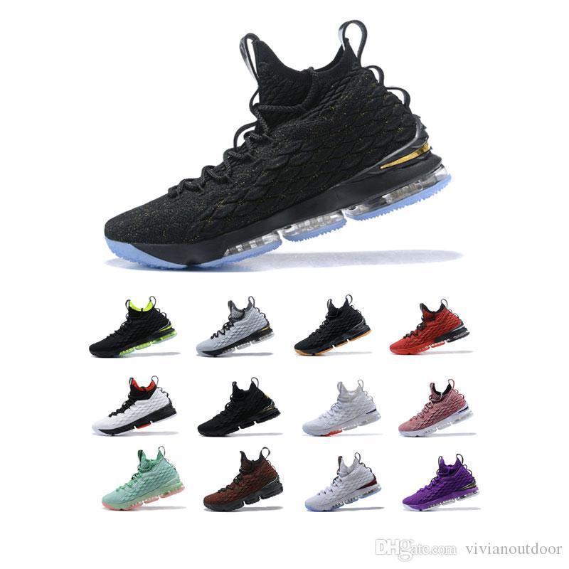جديد وصول شعبية basketballl مصمم للرجل الثلاثي السوداء الرياضية الذهب الأبيض الاحذية المدربين LBJ15 منصة الأحذية