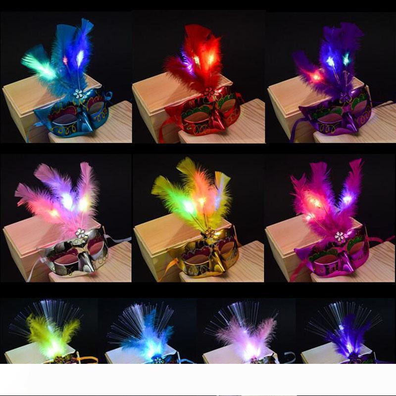 lumières LED de plumes Masque Mardi Gras partie de mascarade danse Masques Masques Feather LED Halloween Costume 50pcs