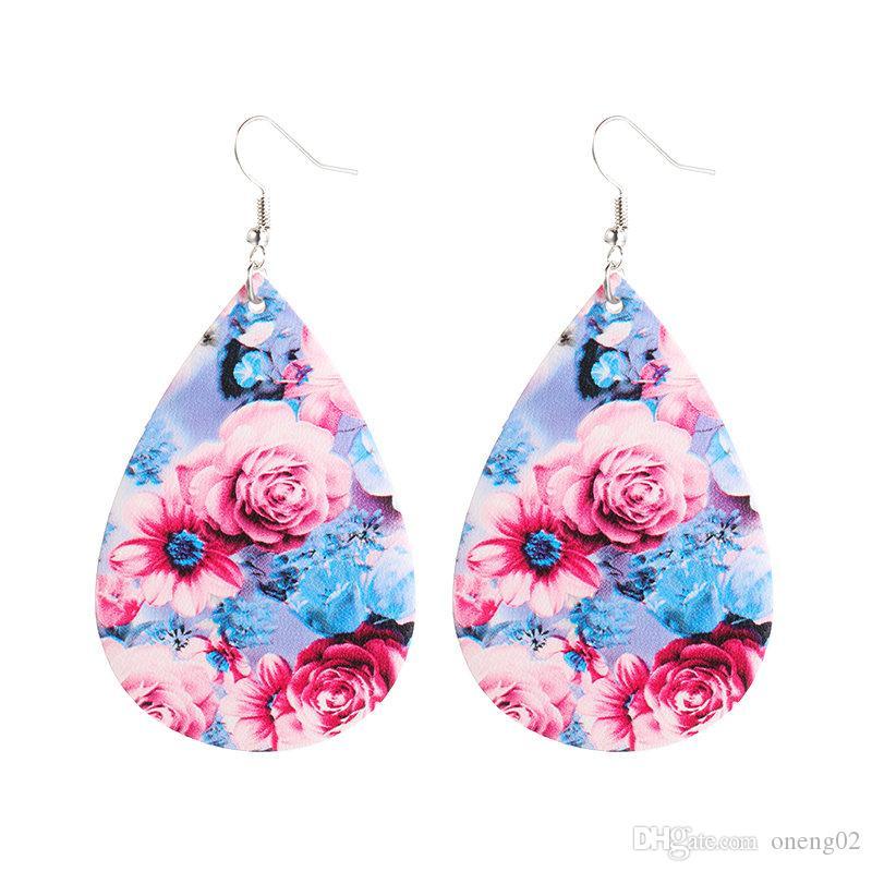 Hot Sale Soft PU Leather Earrings For Women Fashion Woven Pattern Summer Leather Oval Earring Bohemian Style Women Water Drops Jewelry