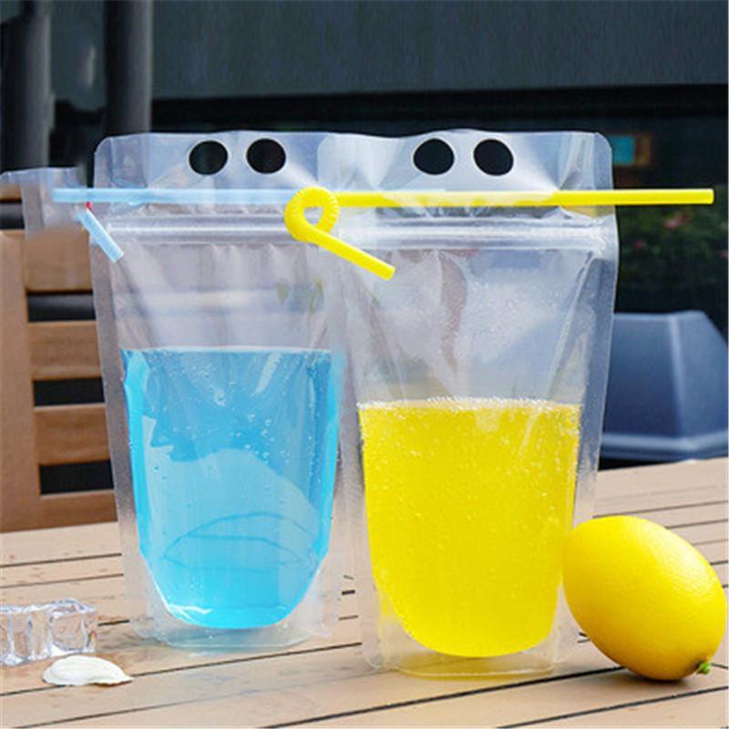 Claro Bebida helado bolsas de los bolsos de la cremallera de pie de plástico de bebida Bolsa de paja con soporte puede volver a cerrar a prueba de calor R1284