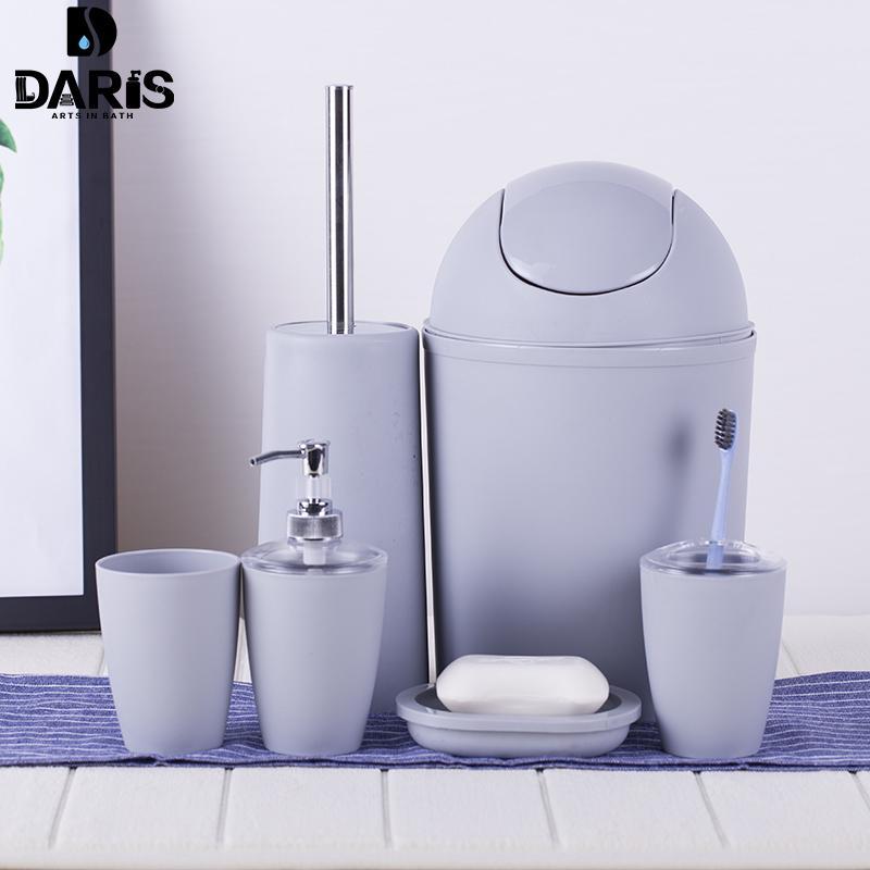 SDARISB 6PCS Massiv Luxus Plastik Badezimmer-Zubehör-Set Wash Anzug Shell Bad Set Tumbler Zahnbürstenhalter Set Bad Lagerung T200506