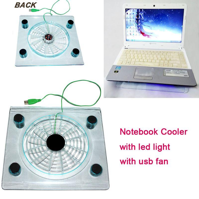 كمبيوتر محمول تبريد مروحة صغيرة USB واجهة تبريد وسادة مع ضوء LED حماية مراوح السلامة لأجهزة الكمبيوتر المحمول 10-14 بوصة كمبيوتر محمول