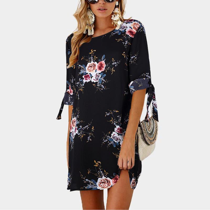 Black 2019 Women Summer Dress Boho Style Floral Print Chiffon Beach Dress Tunic Sundress Loose Mini Party Dress Vestidos Plus Size 5XL