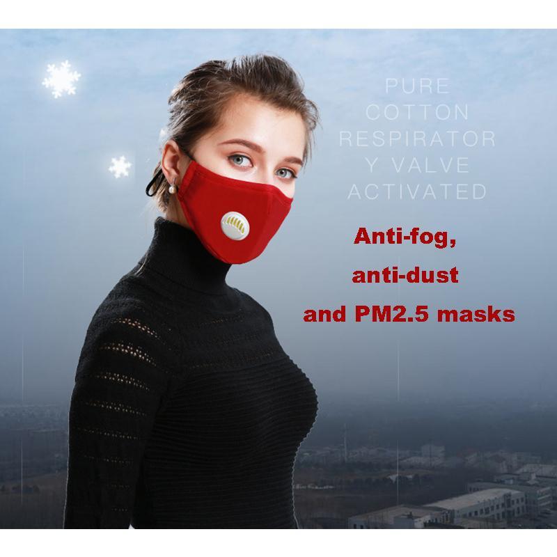 Cleanerzoomer anti-buée PM2,5 Activé Masque Valve respiration coton carbone usine Masques en gros