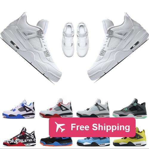 상자 2019 새로운 높은 품질 4S 남성 농구 신발 4S 화이트 시멘트 블랙 레드 4 슈퍼맨 패션 스포츠 신발 디자이너 운동화로