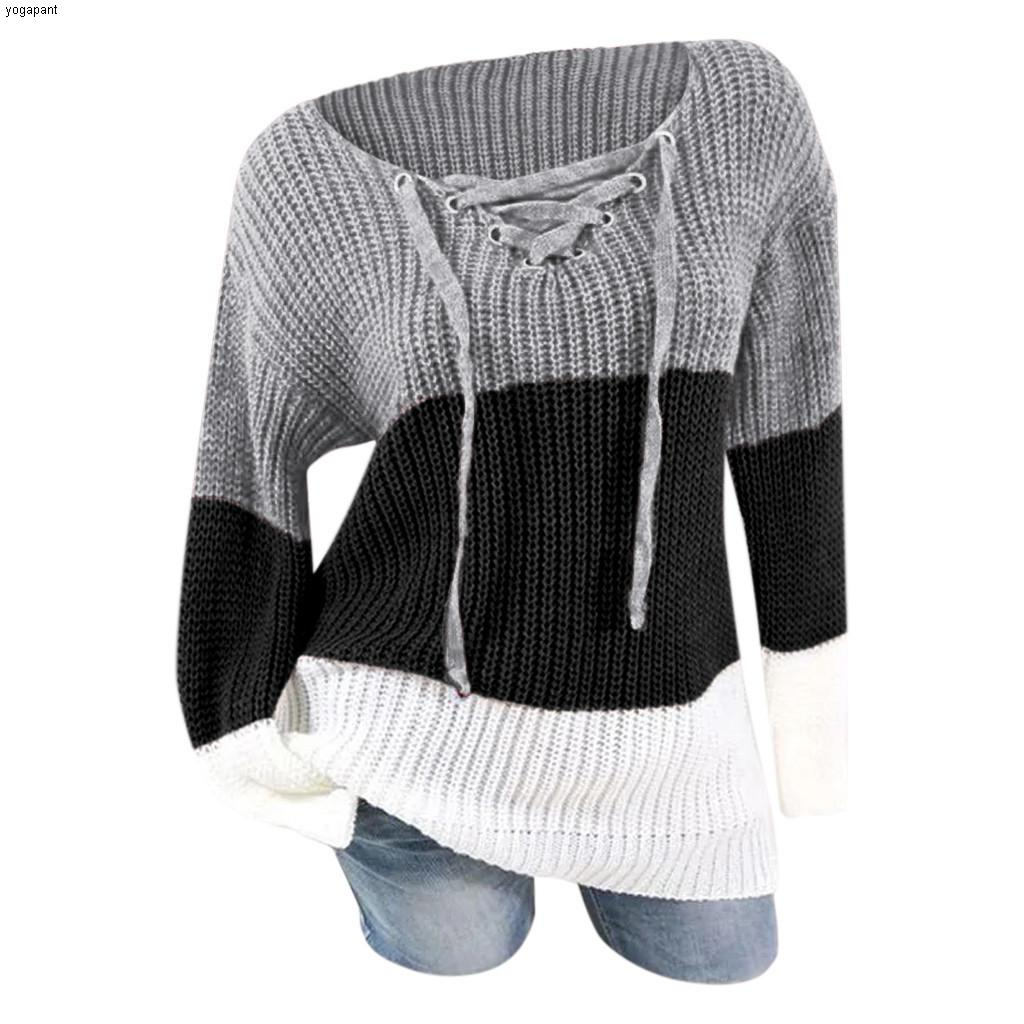 Computer Knitted Sweaters Women's V-Neck Casual Colorblock Pullovers Autumn Spring Lace Up Sweater Loose Patchwork Pullover##45