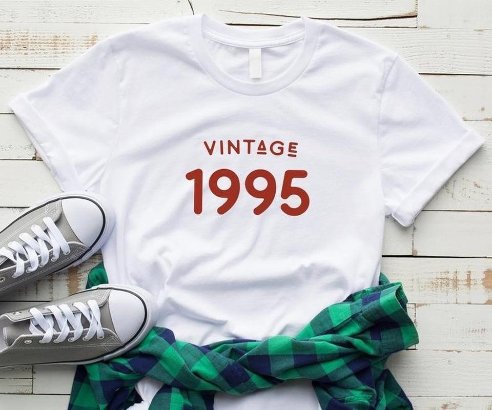 Vintage 1995 Letter Print T-Shirt Women Short Sleep O Neck Loose T-Shirt 2020 Summer Women T-Shirt Tops Camisetas Mujer