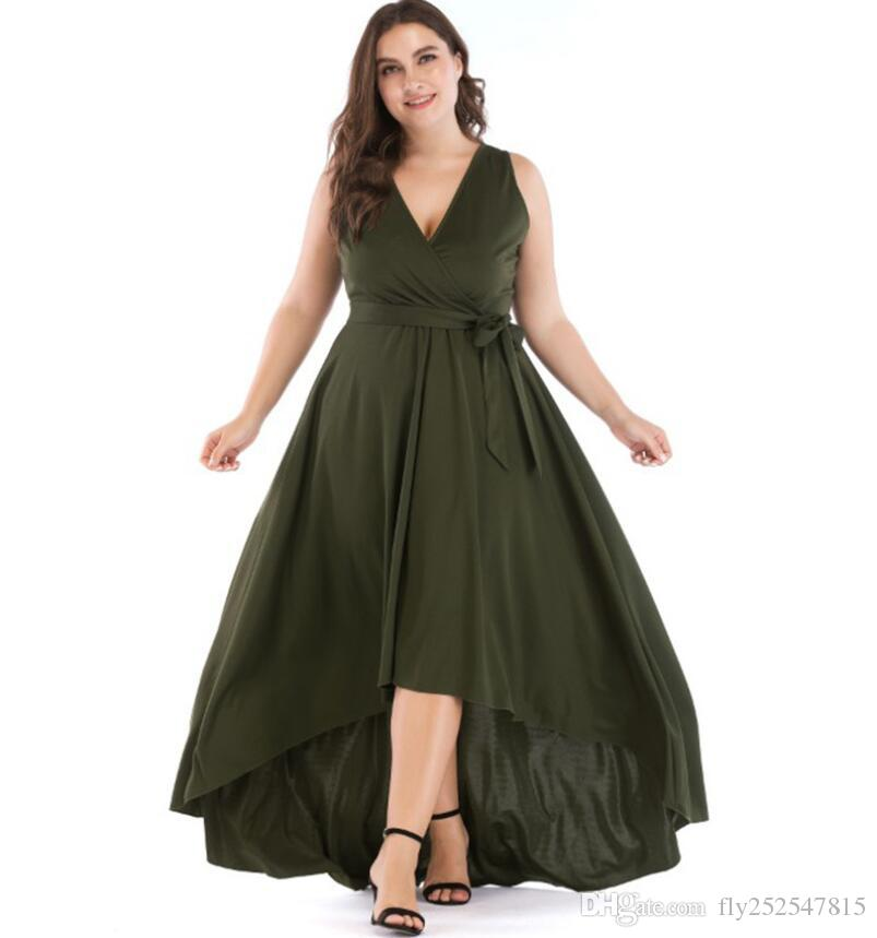 European and American style large size women's dress 2019 summer new fat MM was thin V-neck tie long evening dress