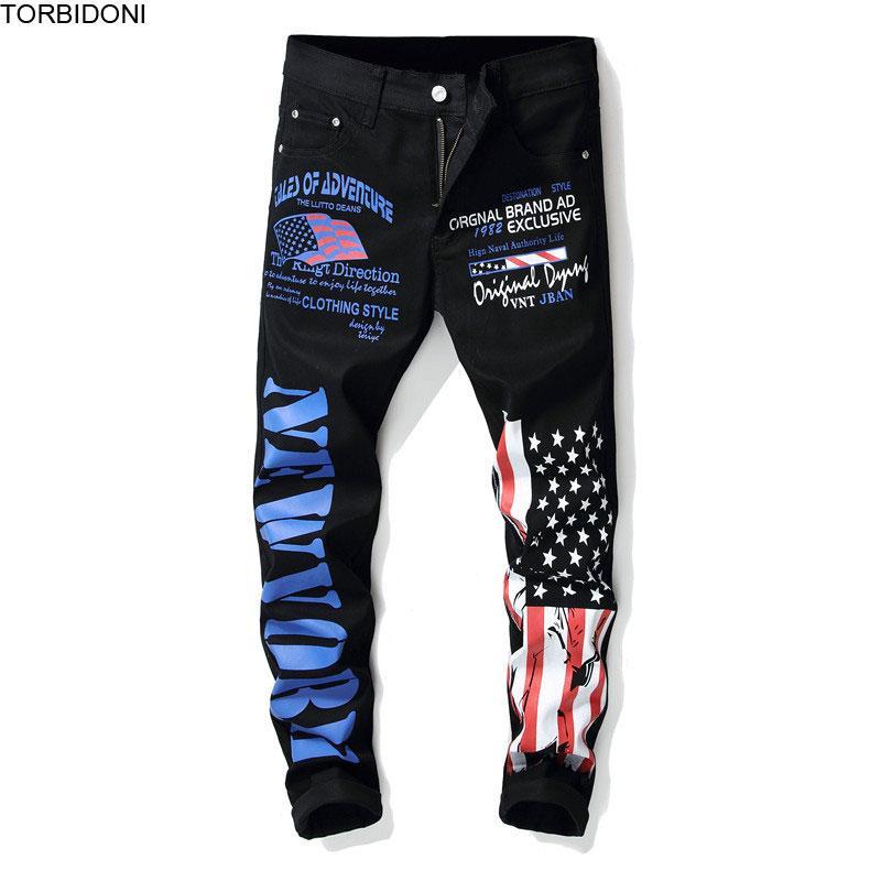 Flag Printed Pants Men Fashion Autumn Long Trousers Pants Calca Masculina Painting Vintage Pencil Skinny Streetwear Pant
