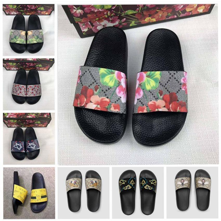 2020 Hommes Femmes Sandales Designer Chaussures de luxe Diapo été meilleur mode plat large Slippery pantoufles de sandales flip 35-45 fleur taille