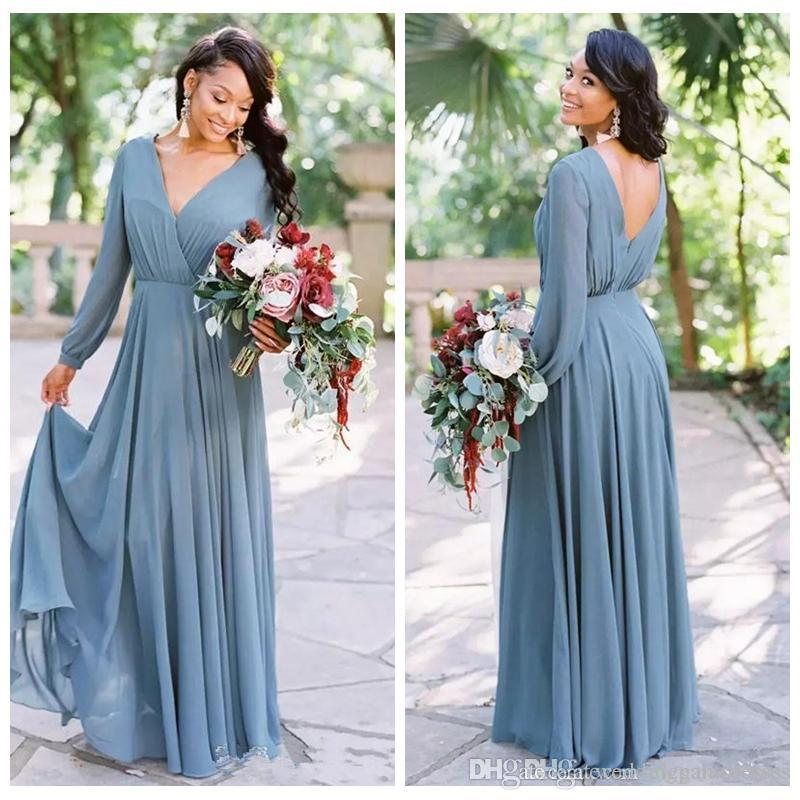 Cheap Long Sleeves Chiffon A-Line Bridesmaids Dresses Deep V Neck Floor Length Robe De Maid of Honor Plus Size Wedding Guest Dress