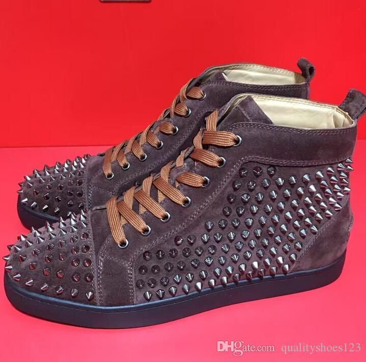 Новые классические дизайнерские туфли шипованные Шипы Мужчины Женщины Повседневная обувь Мода инсайдер кроссовки Красная резиновая подошва кожаные высокие сапоги Повседневная обувь