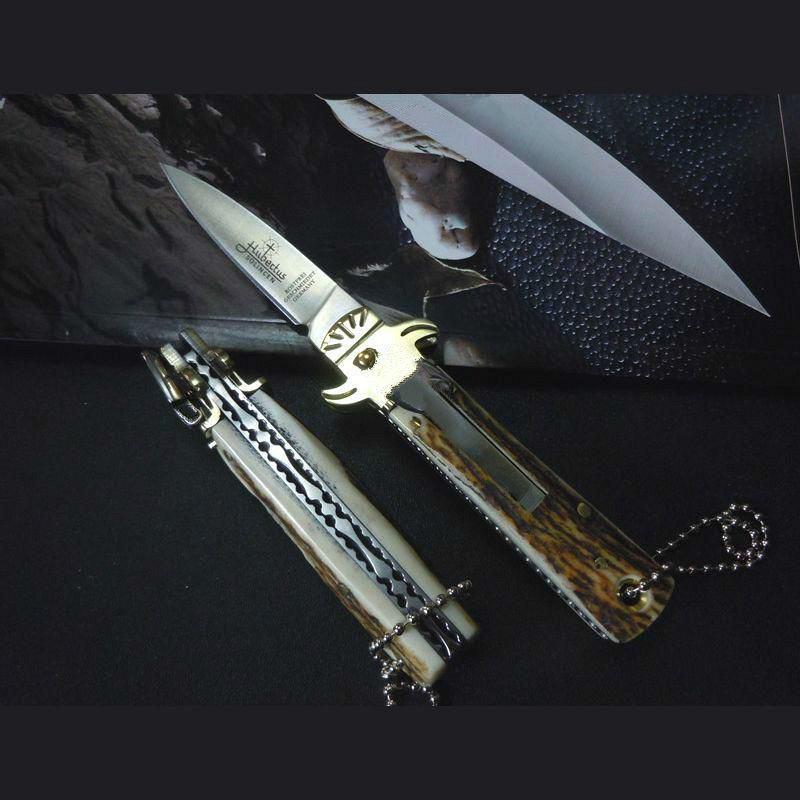 Hubertus Solincen 6 pulgadas lámina D2 HRC61 mango clásico de la asta cuchillos de caza de bolsillo simple acción ITA cuchillo automático acampar faca para 1pcs hombre