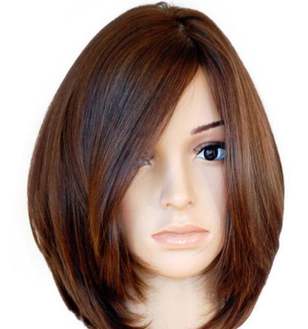 WIG Brazilian Virgin Straight Bob Style Silk Top 150% Density Full Lace Wig 5.24