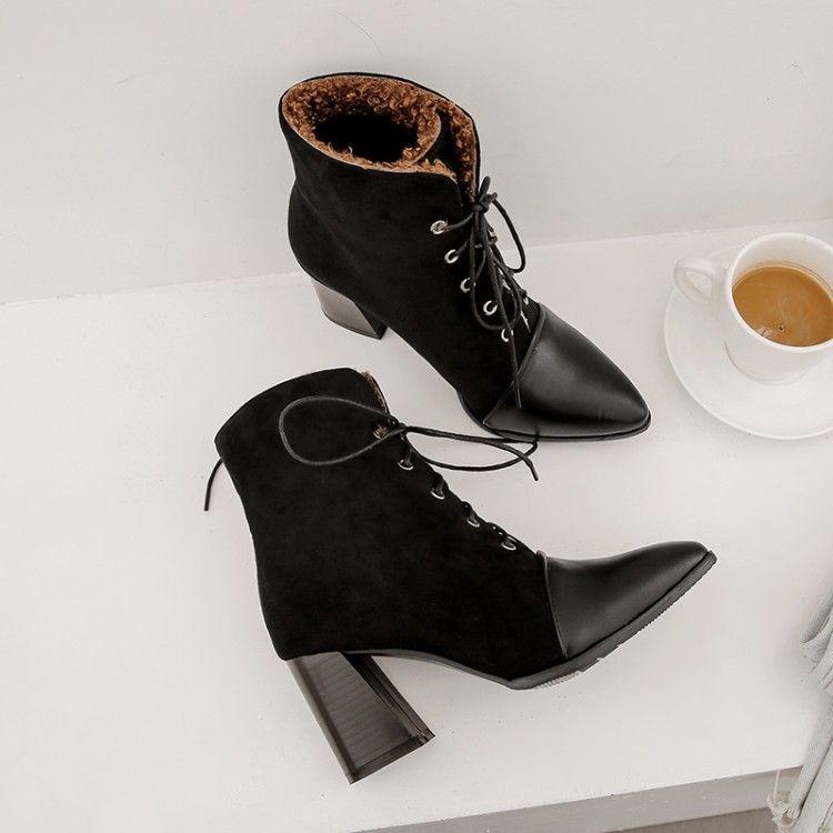 kadınlar bayanlar Ön bağcık başak topuk için büyük boy 17 botlar bayan ayakkabı yarım bot