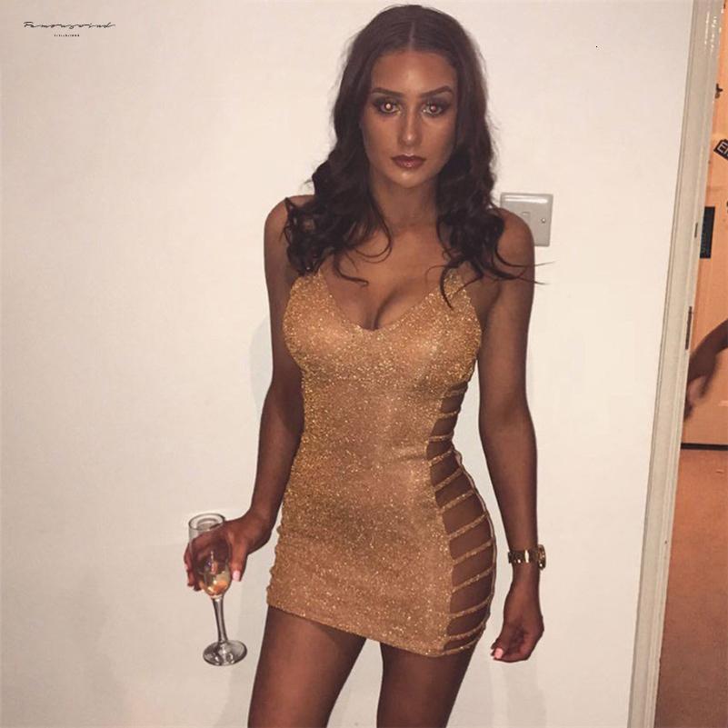 파티 드레스 사이드 중공 아웃 섹시한 Bodycon 붕대 드레스 미니 스파게티 스트랩 V 넥 여성 여름 드레스 Vestidos