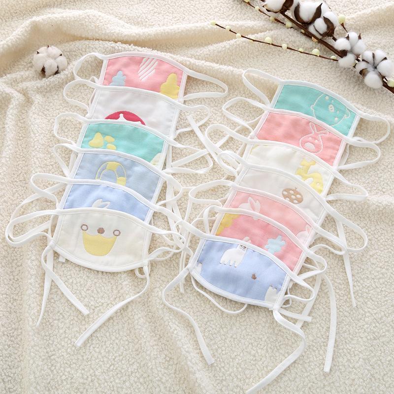 0-7 Jahre alt Baby-Maske Multi-Layer-Gaze-Baumwolle Waschbar Staubdichtes Wind Smog Kinder Männer und Frauen XD23601 Maske