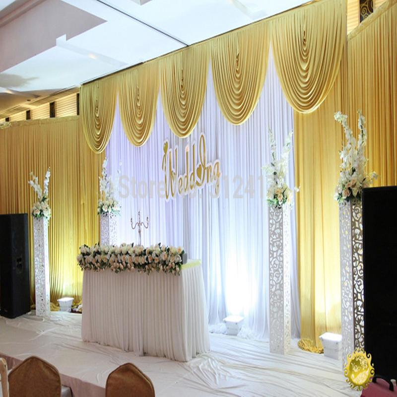 Fast shipping 3x6m white and gold wedding backdrop curtain with swag wedding drapes wedding stage backdrop