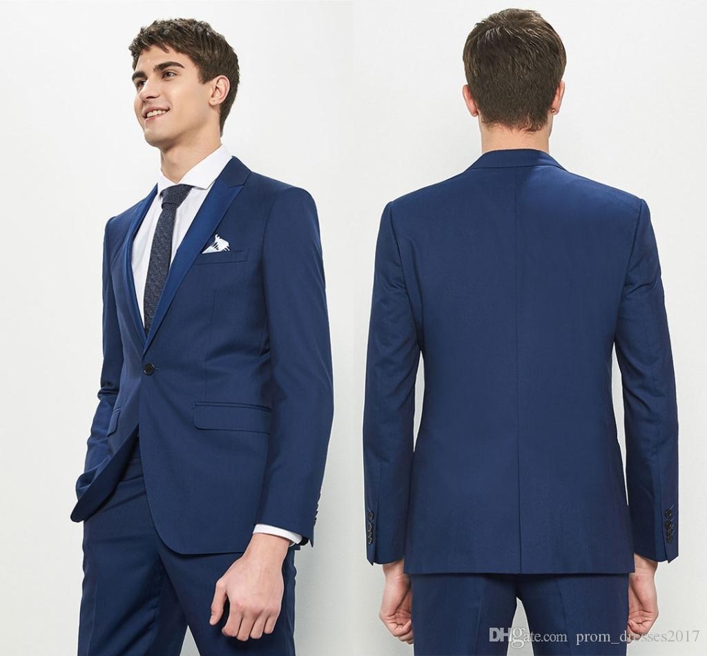 Os mais recentes Slim Fit Noivo Smoking Azul Escuro Best Man Suit Notch lapela Groomsman Men ternos de casamento Noivo (Jacket + calça)