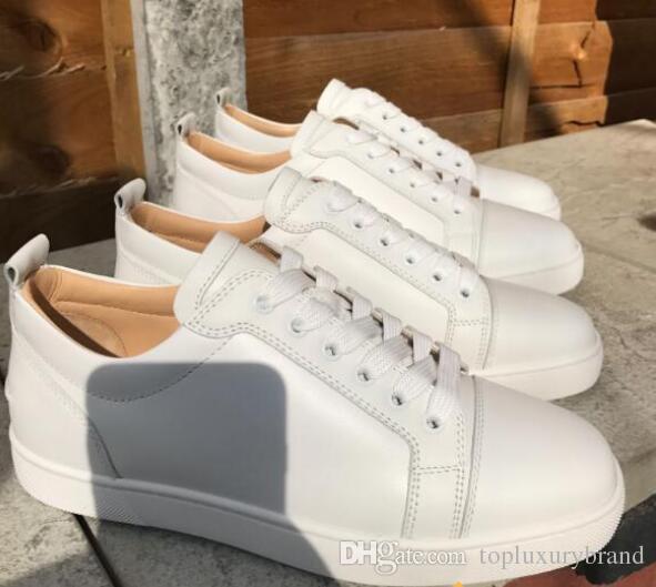 Классические полуботинки Белый натуральная кожа Red Bottom Кроссовки Младший теленок Lowtop Младший Скейт обувь Caviar Мужчины кроссовки обувь высокого качества