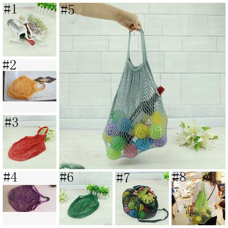 Mesh Net Shopping Bags Fruits Vegetable Portable Foldable Cotton String Reusable Turtle Bags Tote for Kitchen Sundries DSL-LXL963