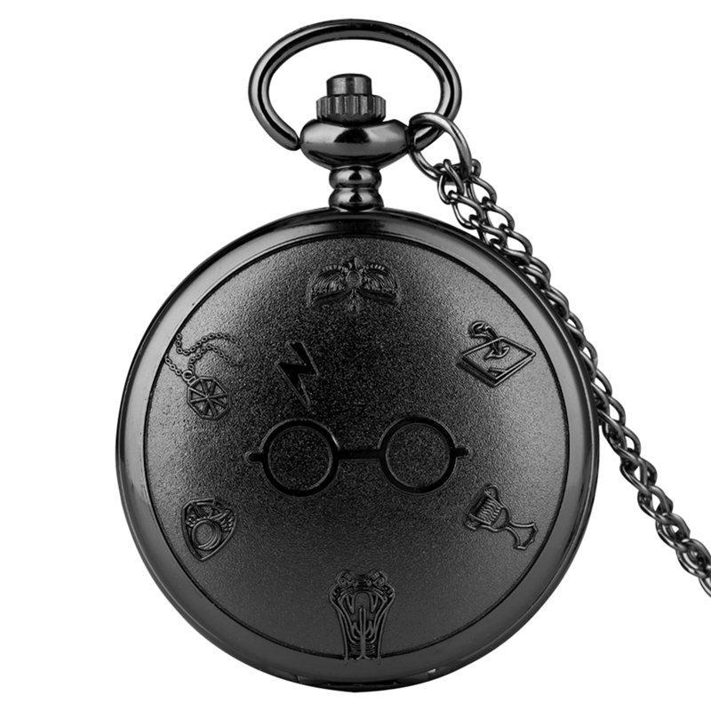 Reloj de bolsillo de cuarzo concisa Negro Hombres Mujeres Adolescentes de Utilidad números árabes Cadena Dial delgado reloj de cuarzo colgante