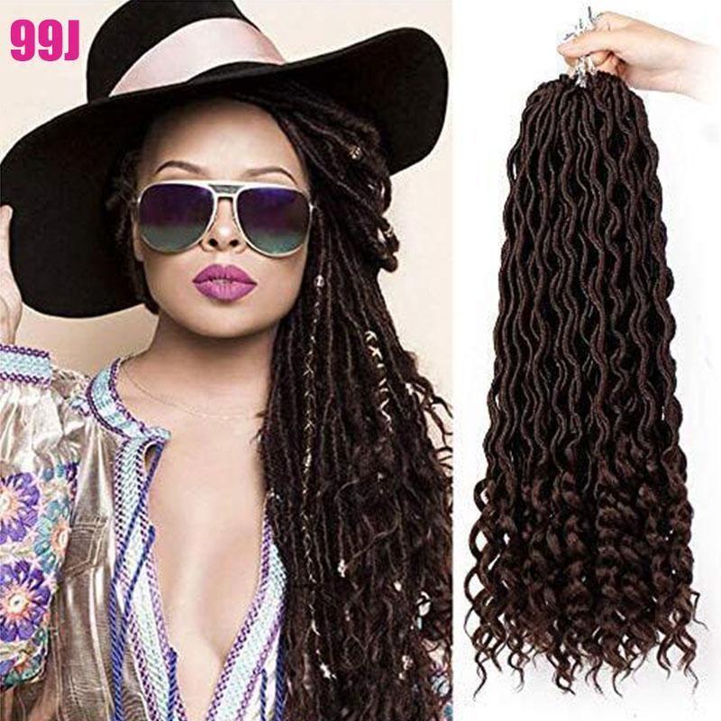 "6 Pcs 20"" Goddess Locs Crochet Hair Wavy Curly Faux Locs Crochet Braids Synthetic Hair Extensions Dreadlocks Crochet Locs Braiding Hair"